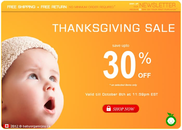 Save up to 30% OFF in the @BabyOrganicJoy Thanksgiving SALE!