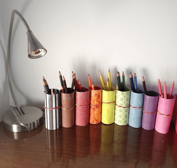 Diy Pencil Crayon Holder From Recycled Toilet Paper Rolls