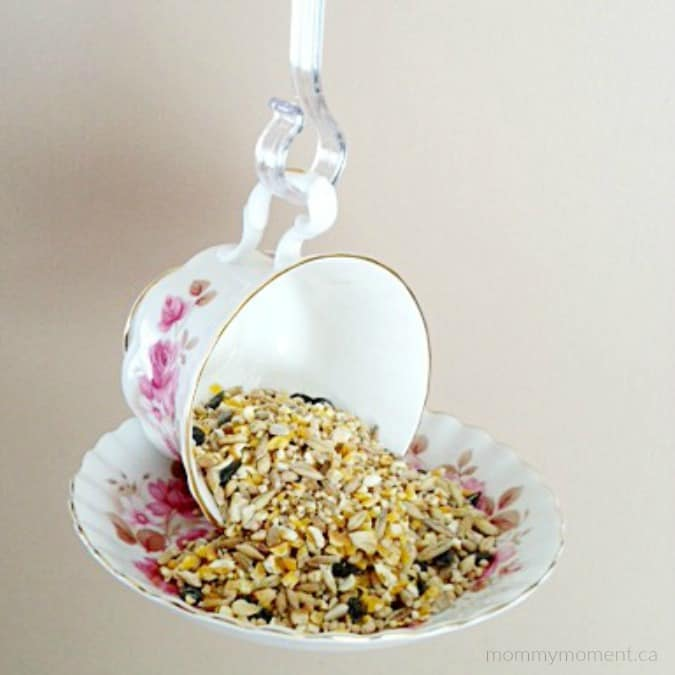 How to make a diy tea cup bird feeder mommy moment for Bird seed glue recipe