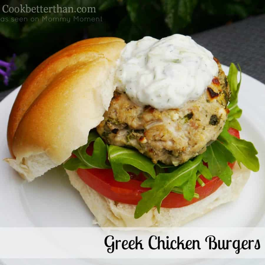 Finished Greek Chicken Burgers