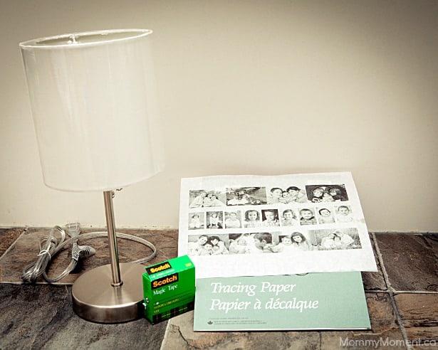 DIY Photo Lamp supplies