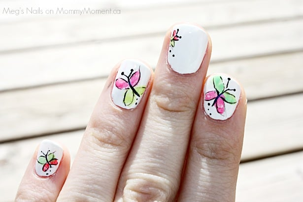 Butterfly Nail Art Neon