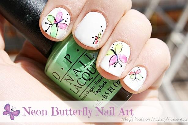 Neon Butterfly Nail Art