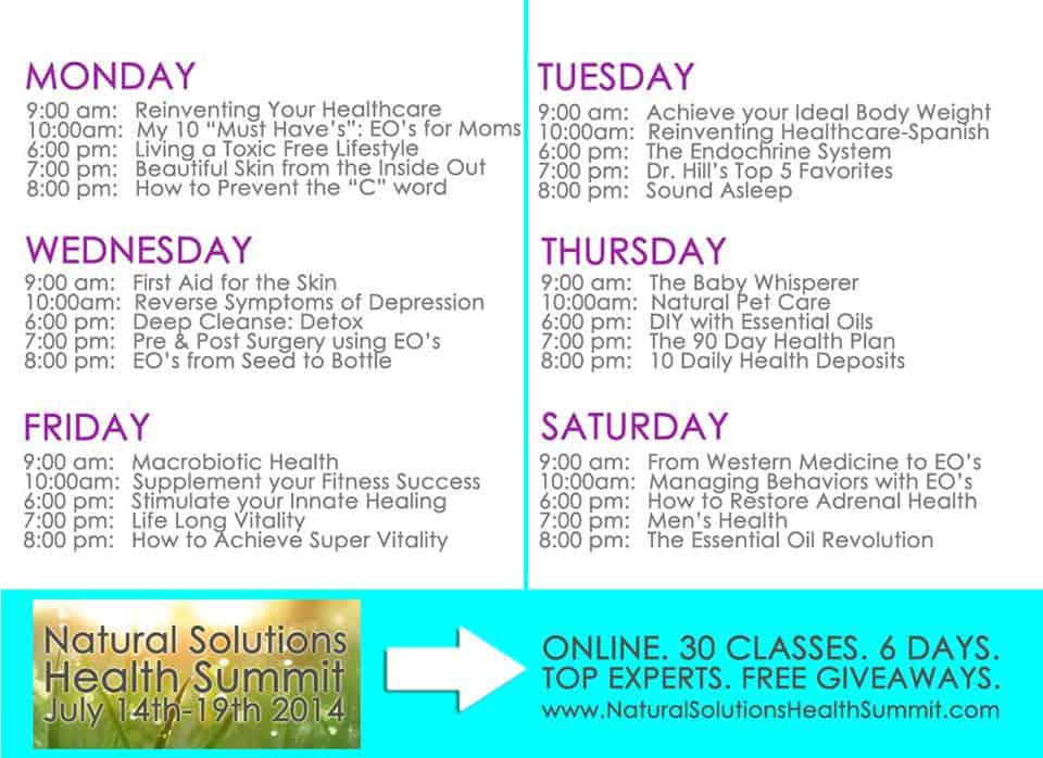 Natural Health Summit Schedule