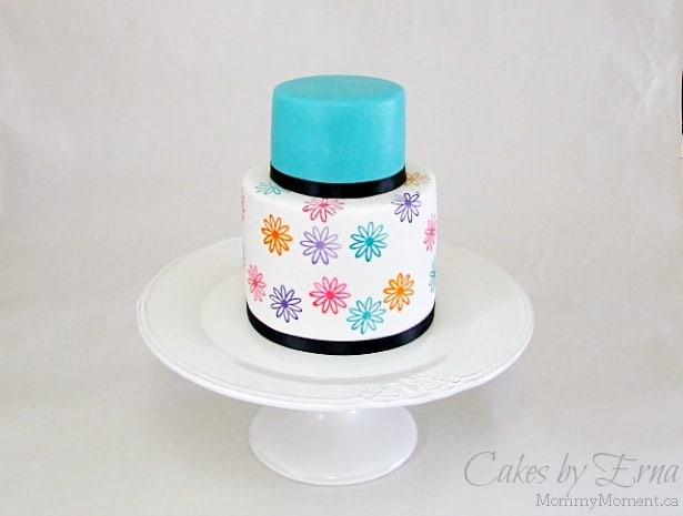 Stamped Flower Cake design