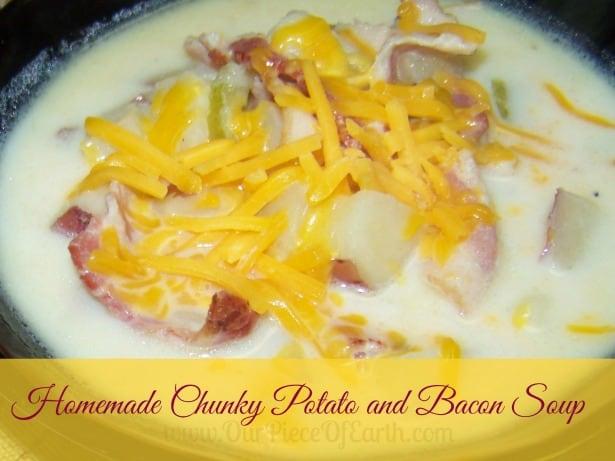 Homemade chunky potato and bacon soup
