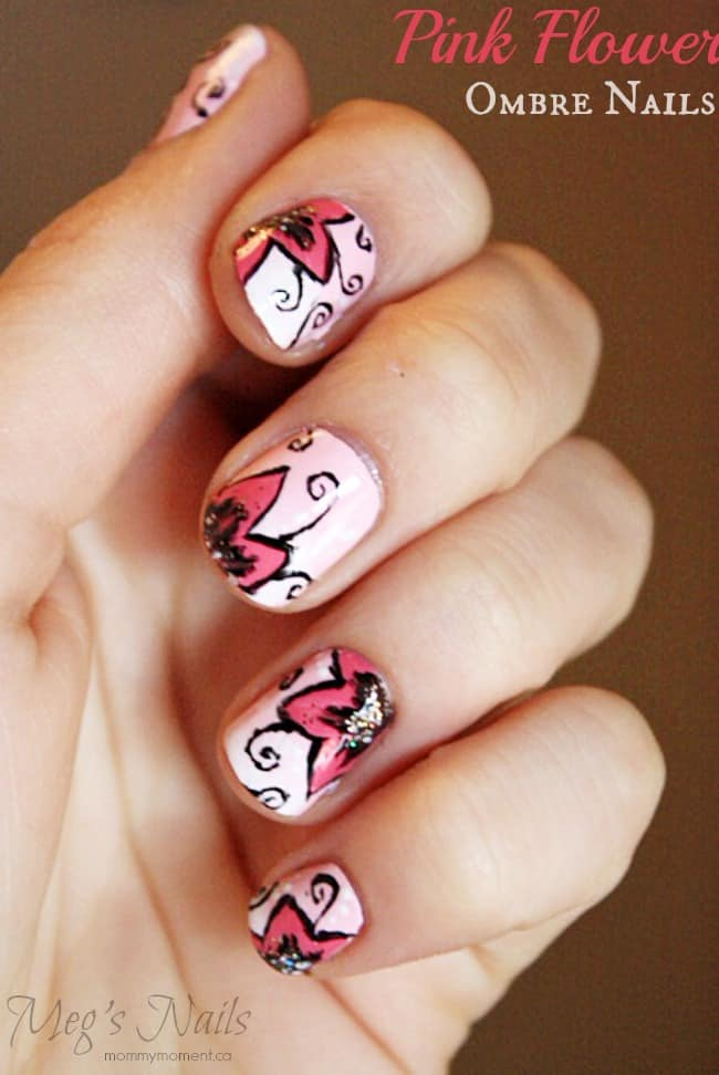 Pink Flower Ombre Nails