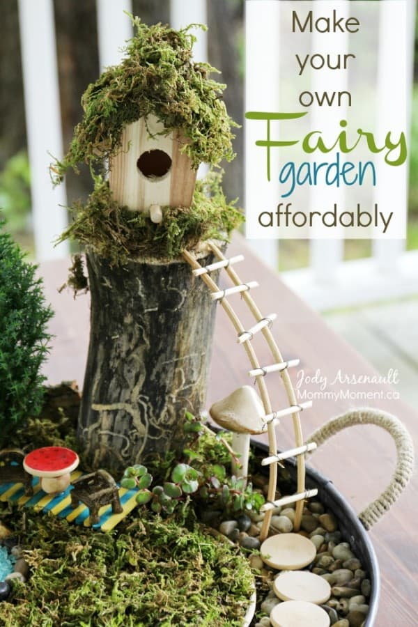 How to make a fairy garden affordably mommy moment for Craft ideas for fairy gardens