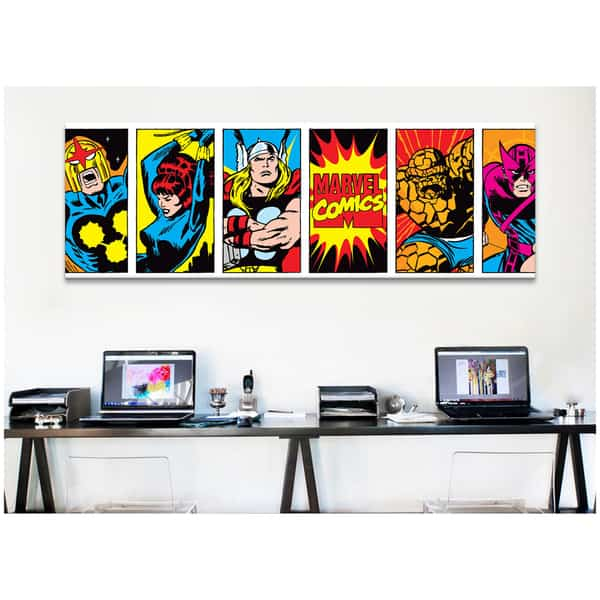 Great iCanvas Marvel Comic Book Character Colored Panoramic Canvas