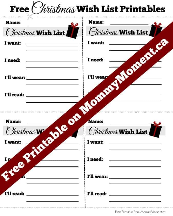 Free Christmas Wish Printable  Free Christmas Wish List