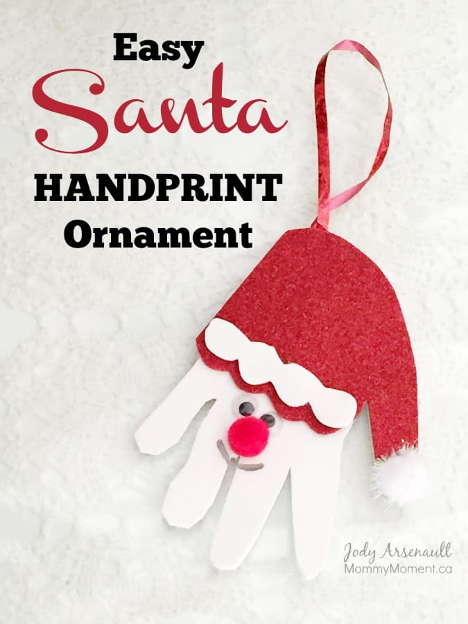 hanprint art for valentine's day - Easy Santa Handprint Ornament Mommy Moment
