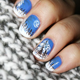 Create this Winter Evening Nail Art Design with only 3 colors!