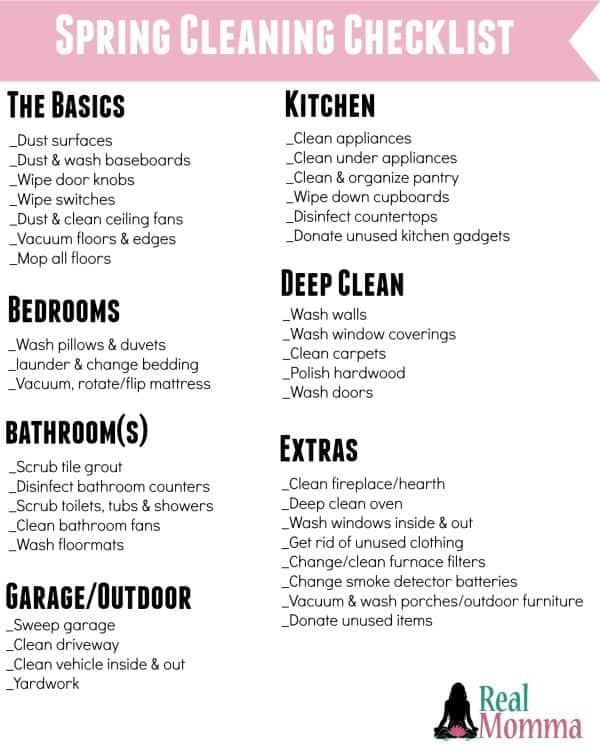 Spring Cleaning Checklist  Mommy Moment