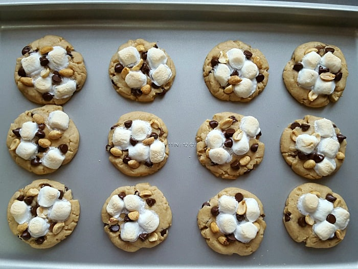 Rocky road cookies with peanut butter!Just follow the link to my yummy homemade peanut butter cookie recipe, add the toppings and bake! It's that simple.