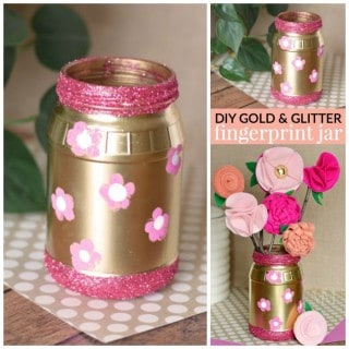 DIY GOLD GLITTER MASON JAR WITH FINGERPRINT FLOWERS