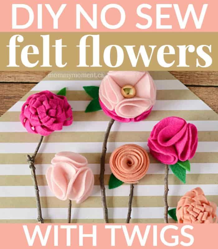 Diy no sew felt flowers with twigs mommy moment diy no sew felt flowers on twigs mightylinksfo