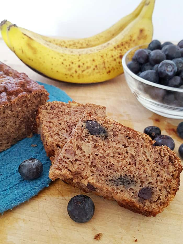 This blueberry banana bread is so moist and full of flavor, you would never guess it's gluten free, dairy free and sugar free!