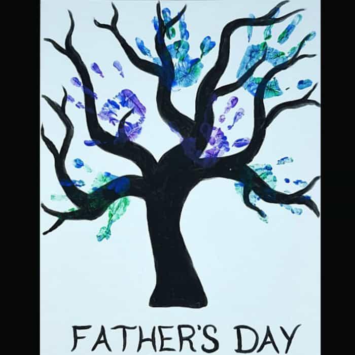 handprint canvas family tree craft