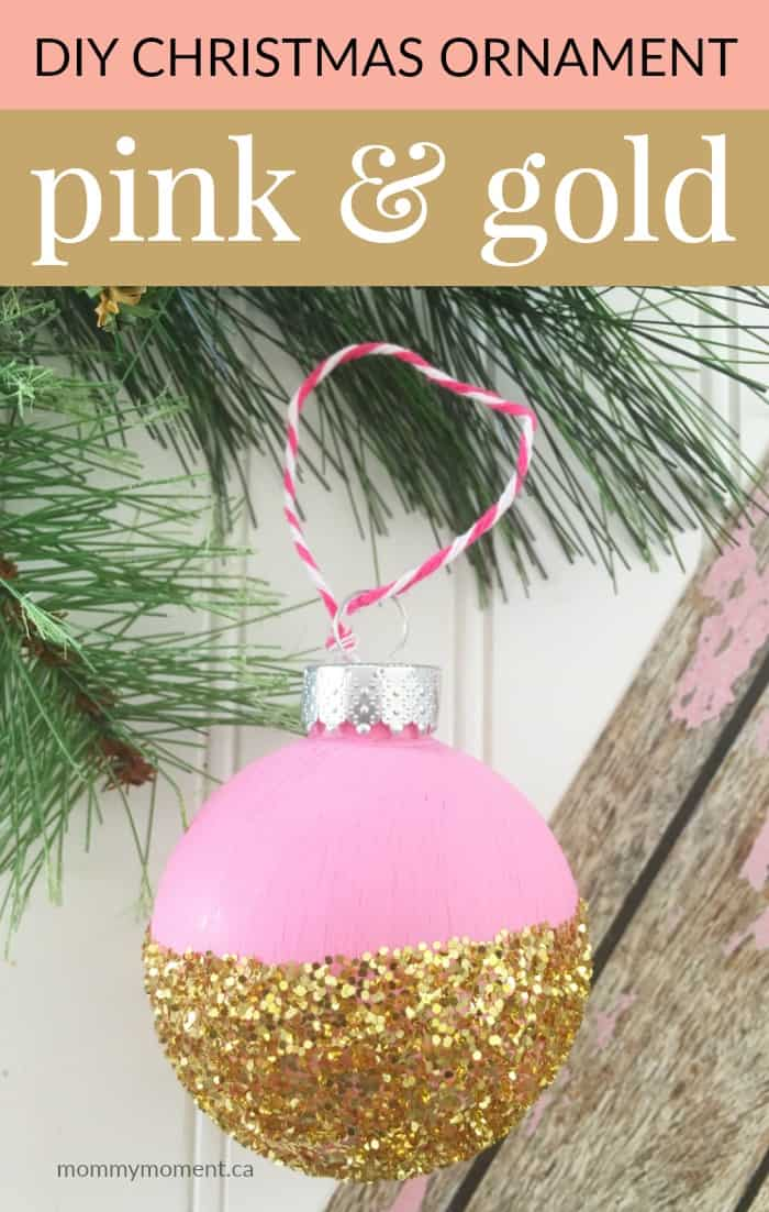 DIY Christmas Ornament pink gold