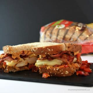RUSTIC CHICKEN AND BACON SANDWICH WITH ROASTED RED PEPPER HUMMUS