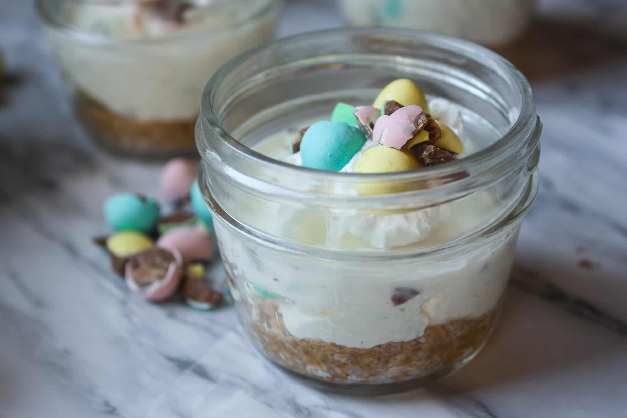 Mini Egg Cheesecakes in a jar